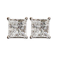 1.95TW Diamond 14KW Stud I-I1, IGI Princess Earrings