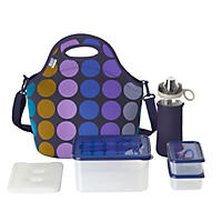 Built NY 10-Piece Neoprene Insulated Lunch Bag Set - Plum Dots