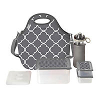 Built NY 10-Piece Neoprene Insulated Lunch Bag Set, Grey Moroccan