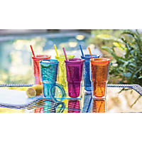 24 oz. Multicolor Double Wall Hammered Sipper Tumblers (Set of 6)