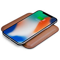 Eggtronic Genuine Leather Fast Charging Wireless Pad (Brown)