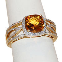 Citrine Ring .31TW Diamond in 14K Yellow Gold
