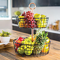 Two-Tier Wire Basket Stand