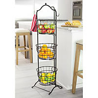 Wrought Iron 3-Tier Stand with Removable Baskets