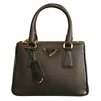 Galleria Small Leather Tote Handbag by Prada