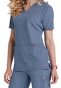Smitten Magic Rock Goddess v-neck scrub top.