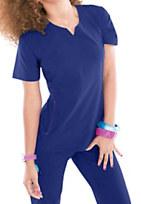 Smitten Magic Knock Out scoop notch-neck scrub top.