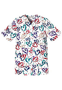 Cherokee Heartbeat print snap front scrub top.