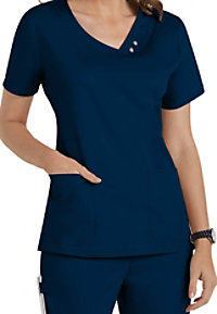 Cherokee Luxe asymmetrical mock-wrap scrub top.