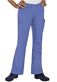 Landau elastic waist boot-cut cargo scrub pants.