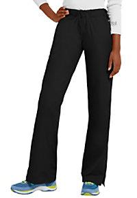 Landau elastic waist flare-leg scrub pant.