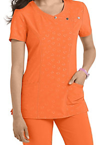HeartSoul Be Mine embossed crossover scrub top.