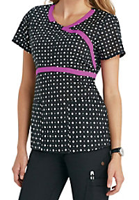 HeartSoul Dot You Forget It Black print scrub top.