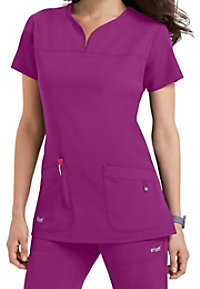 Greys Anatomy Signature Notch Neck 2 Pocket Scrub Tops