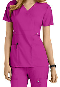 Cherokee Luxe modern fit mock wrap scrub top.