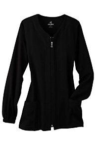 Jockey 3-pocket zip-front scrub jacket.