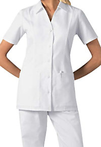 Cherokee standing collar button front scrub top.