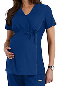 Cherokee Flexibles Maternity Mock-wrap Knit Panel Scrub Tops
