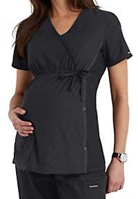 Cherokee Flexibles maternity mock-wrap scrub top.