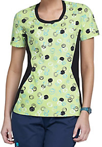 Cherokee Flexibles Dots A Doodle scoop neck print scrub top.