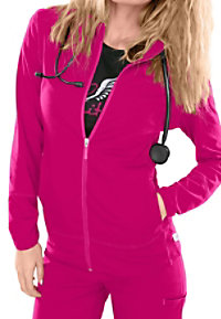 Smitten Rebel zip warm-up scrub jacket.