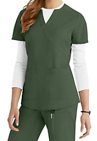 NrG by Barco 2-pocket mock-wrap scrub top.