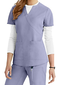 NrG by Barco 2-Pocket Mock-Wrap Scrub Top