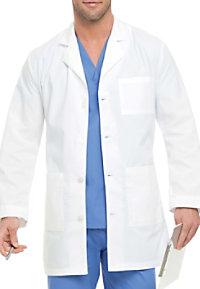 Landau mens four button lab coat.