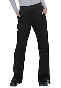 White Cross Allure knit waist cargo scrub pants.