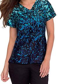 Landau Moonscape Waters Smart Stretch v-neck print scrub top.