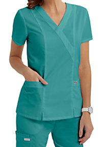 Greys Anatomy 2 pocket mock wrap scrub top.