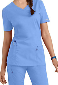 Landau Work Flow 3-pocket v-neck scrub top.