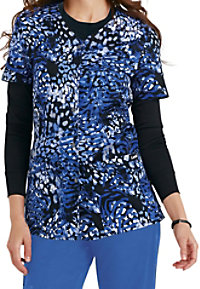 Landau Smart Stretch Mystical Mix snap front print scrub top.
