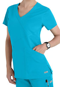 Greys Anatomy 3 Pocket Crisscross Wrap Scrub Top