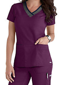 Greys Anatomy Color Block 3-pocket V-neck Scrub Tops