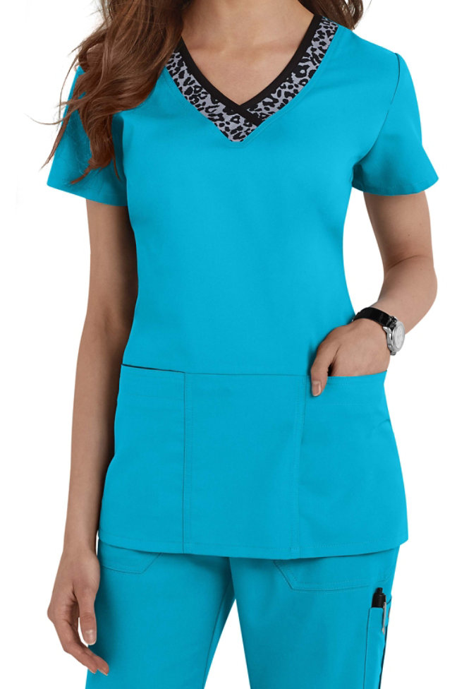 Greys Anatomy V Neck Leopard Trim Scrub Top