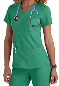 Greys Anatomy 3-Pocket Mock-Wrap Scrub Top