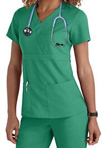 Greys Anatomy 3-Pocket Mock-Wrap Scrub Top