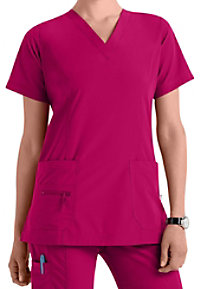 Peaches Enzyme Washed Doo-Dad v-neck scrub top.