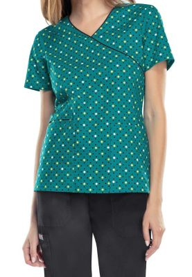 Cherokee Dots For Sure Teal Print Scrub Tops - Dots For Sure Teal - 3X