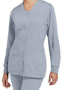 Greys Anatomy button-front v-neck scrub jacket.