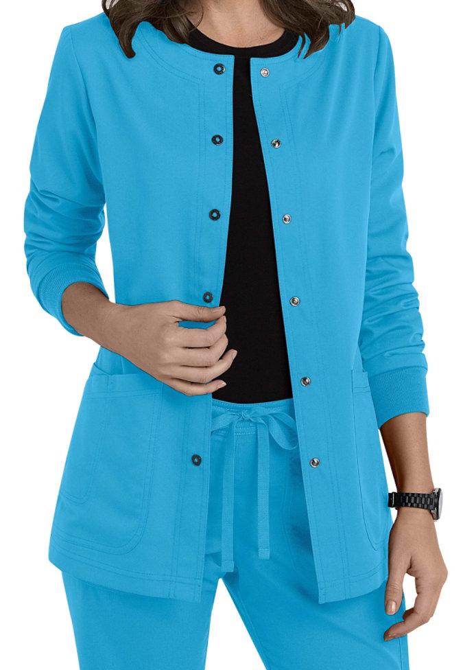 Greys Anatomy 4 Pocket Snap Front Scrub Jacket