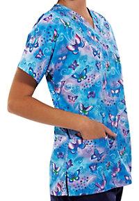 Cherokee Scrub HQ Fly by Night print v-neck scrub top.