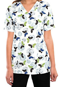 Cherokee Scrub HQ Over the Moon print v-neck scrub top.