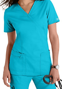 Cherokee Workwear Core Stretch mock-wrap scrub top