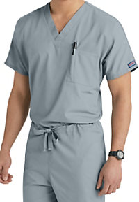 Cherokee Workwear unisex v-neck with chest pocket scrub top.