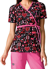 Cherokee Scrub HQ Caring for the Cause print scrub top.