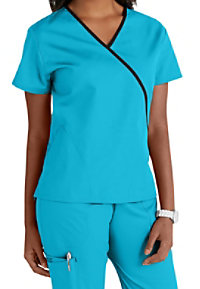 Cherokee Workwear contrast trim scrub top.
