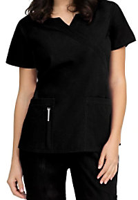 Peaches Natalie banded crossover notched neck scrub top.
