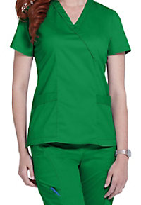 White Cross Allure crossover scrub top.